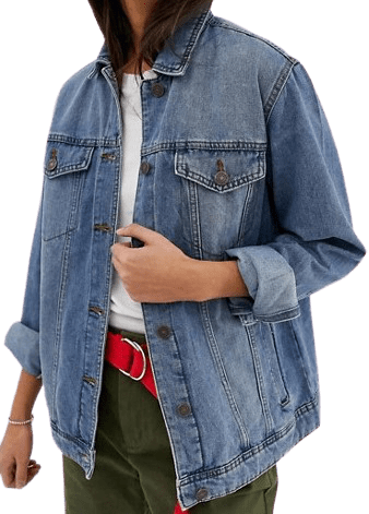 Mid Blue Oversized Denim Jacket-Noisy May