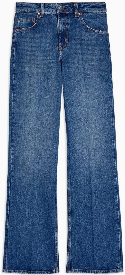Mid Blue Relaxed Flare Jeans-Topshop