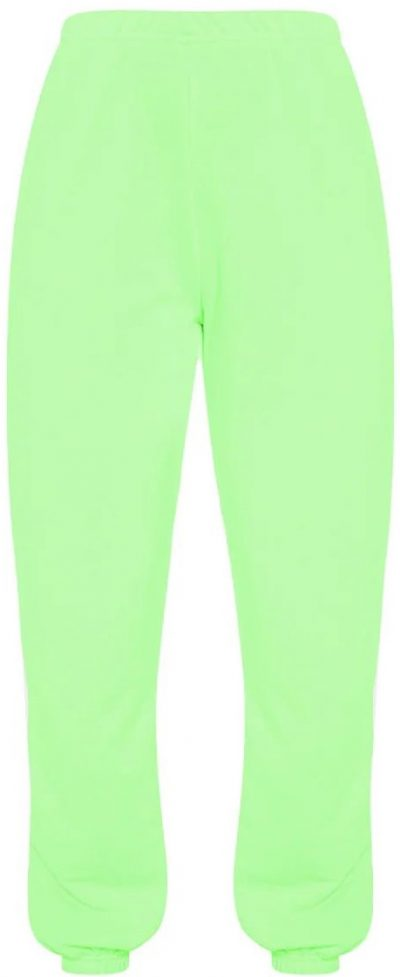 Neon Lime Basic Cuffed Hem Track Pants