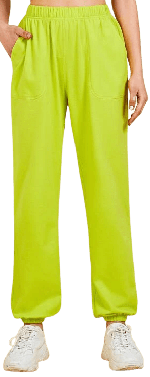 Neon Yellow Pocket Front Sweatpants