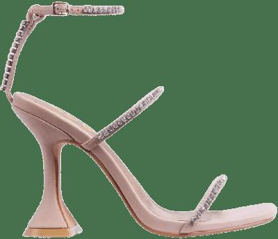 Nude Catch Me Diamante Detail Square Toe Sandals-Ego