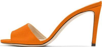 Orange Peep Toe Mules-FOWT