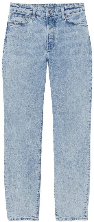 Pale Denim Blue Mom High Ankle Jeans
