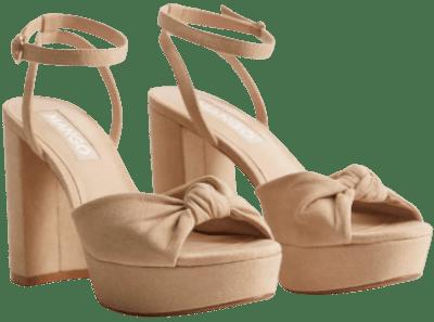 Pastel Brown Knot Heel Sandals