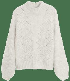 Pastel Grey Openwork Knit Sweater-Mango