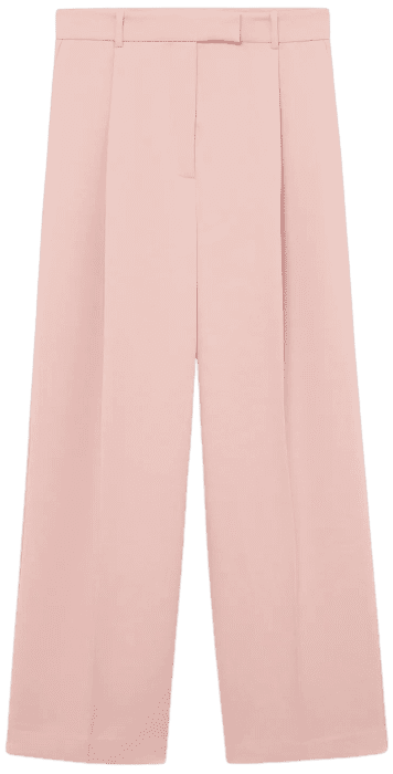 Pastel Pink Pleat Straight Trousers-Mango