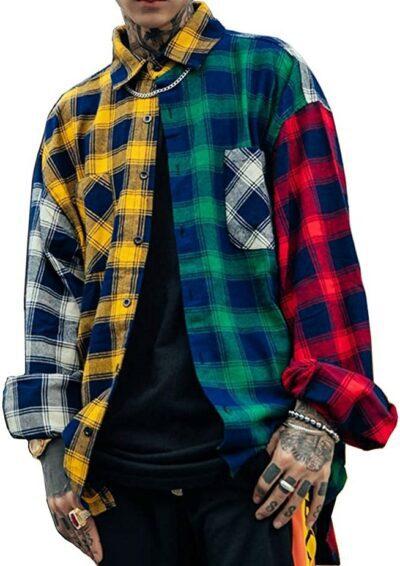 Patchwork Plaid Shirt-Floette
