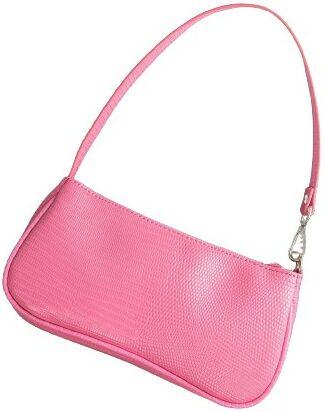Pink Croc Embossed Baguette Bag-Shein