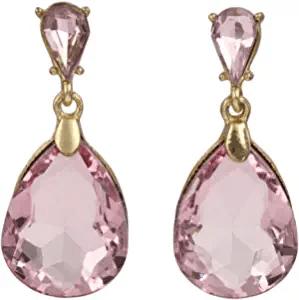 Pink Double Teardrop Rhinestone Earrings
