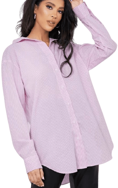 Pink Drop Shoulder High Low Striped Blouse-Shein