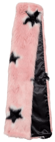 Pink Faux Fur Oversized Star Scarf