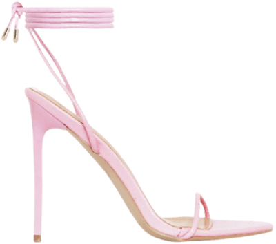 Pink Faux Snake Print Lace Up Stiletto Heels-Simmi