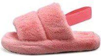 Pink Fluffy Faux Fur Slippers-Deerhobbes
