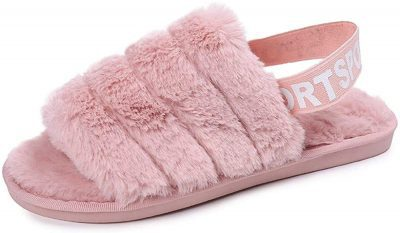 Pink Fuzzy Soft Slippers