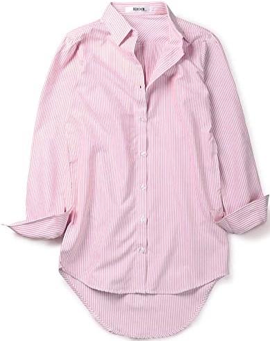 Pink Long Sleeve Striped Shirt Dress-OCHENTA