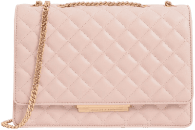 Pink Quilted Chain Strap Shoulder Bag-Charles & Keith