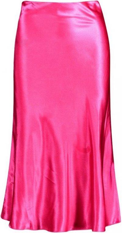 Pink Satin Bias Cut Slip Midi Skirt-Boohoo