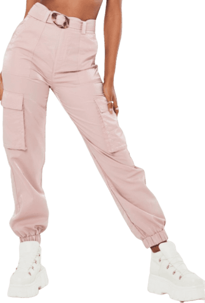 Pink Shimmer Tortoiseshell Belted Cargo Pants-Missguided
