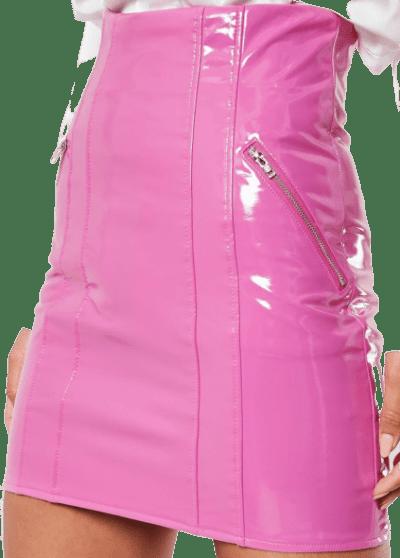 Pink Vinyl Super High Waist Mini Skirt-Missguided