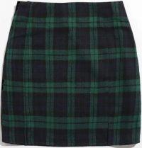 Plaid Split Hem Mini Skirt-Shein