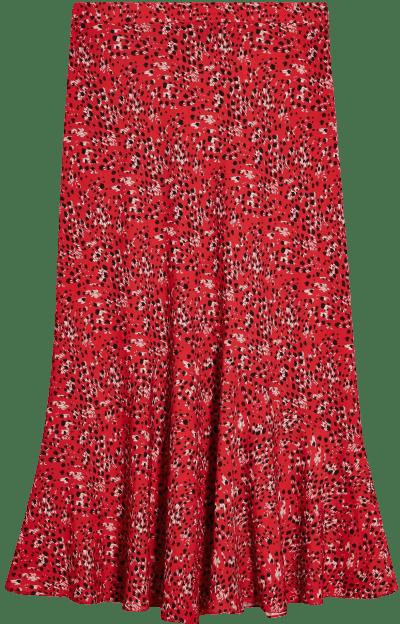 Red Animal Print Flounce Midi Skirt