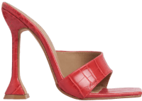 Red Croc Print Faux Leather Square Mules