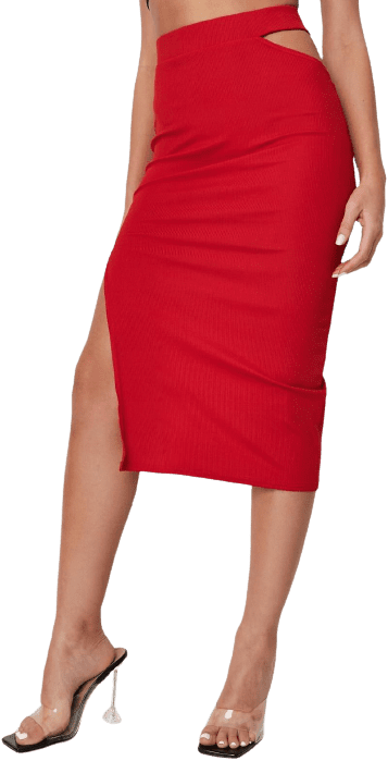 Red Cut Out Ribbed Midi Skirt-Missguided