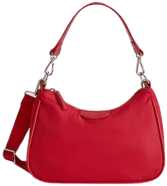 Red Double Handle Baguette Bag-Mango