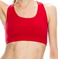 Red Elastic Back Sports Bra-Kurve