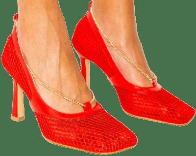 Red Matte Tia Chain Mesh Heels