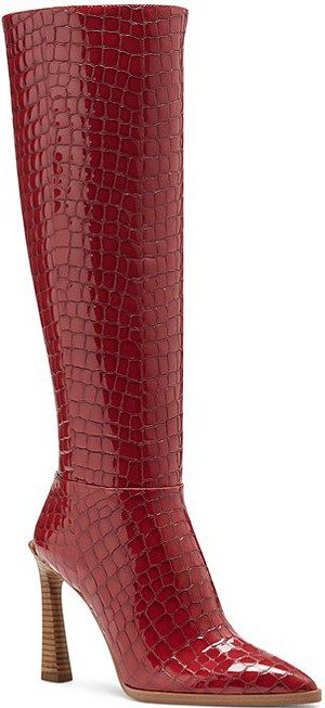 Red Pelsna Tall Croc Embossed Patent Leather Boots-Vince Camuto