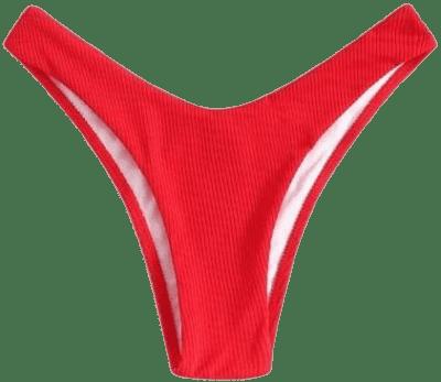 Red Rib High Cut Bikini Panty-Shein