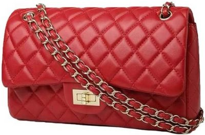 Red 'Sofia' Quilted Faux Leather Chain Bag