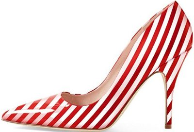 Red Stripe Pointed Toe Pumps-YDN