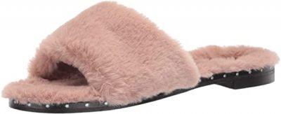 Rose Faux Fur Open Toe Slide Sandals