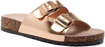 Rose Gold Buckled Slip Sandals