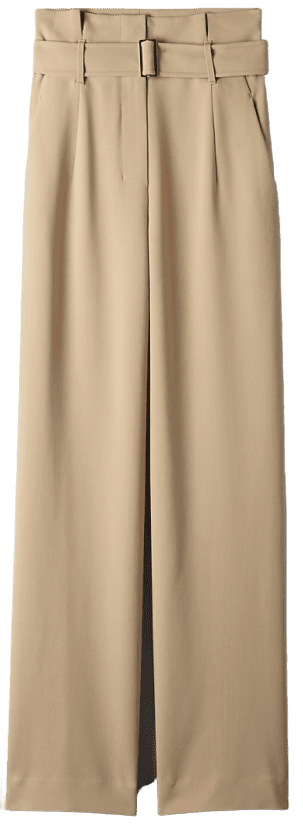 Sierra Beige High-Waisted Belted Pant-Babaton
