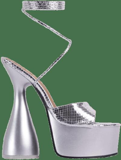 Silver Bite-Me Lace Up Platform Heel-Ego