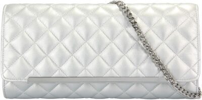 Silver Quilted Flap Clutch-Grace Angel