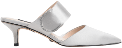 Silver Satin Gem Encrusted Mules-Charles & Keith