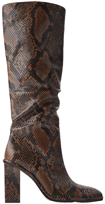 Snakeskin Print Heeled Boots-Zara