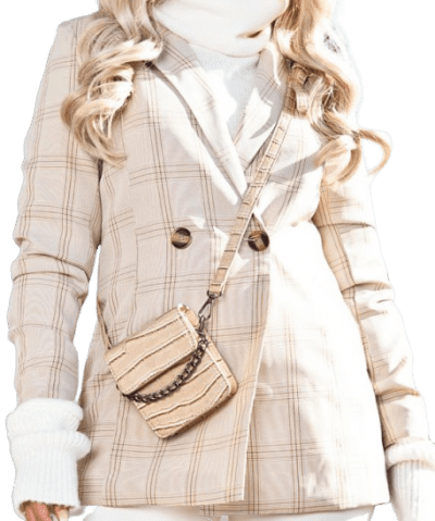 Stone Checked Woven Blazer-Prettylittlething