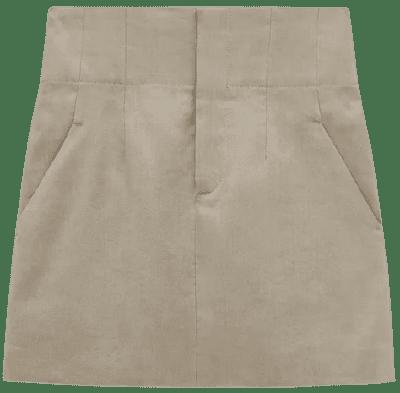 Stone Linen Blend Crop Skirt-Zara