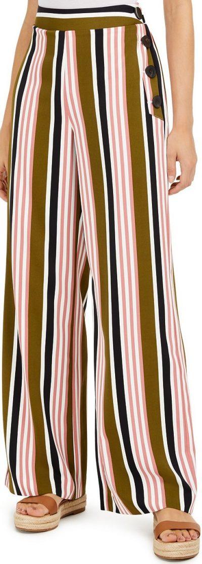 Striped Wide-Leg Pants-Bar III