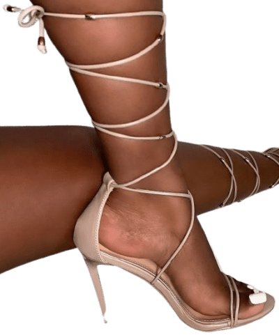 Taupe Adaira Embellished Lace Up Stiletto Heels-Simmi