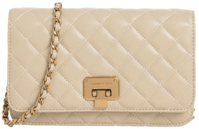 Taupe Quilted Flip-Lock Clutch-Charles & Keith