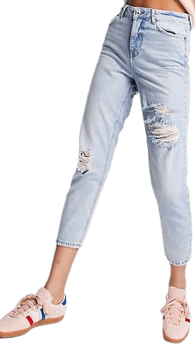 Teal Ripped Mom Jeans-New Look