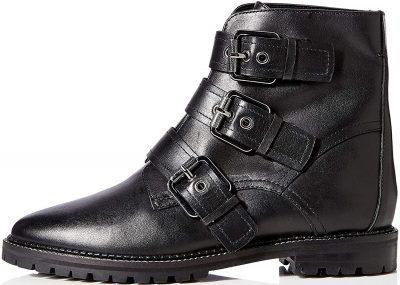 Black Three Buckle Leather Biker Boots-find.
