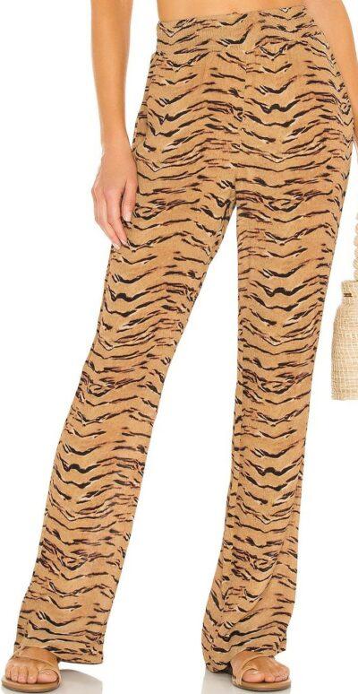 Tiger Print Tan Smocked Flare Pant-WeWoreWhat