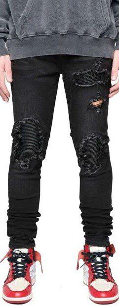 Vintage Black Biker Denim Jeans-Destructive